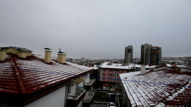 Snow At Ankara in winter with TimeLapse