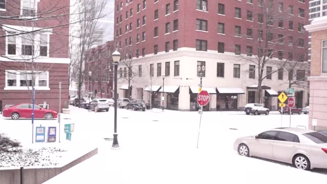 snow at pioneer courthouse square in portland oregon - pioneer square portland stock videos & royalty-free footage