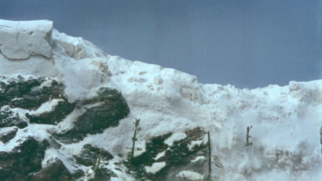 Snow avalanche on top of mountain / Seven Brides for Seven Brothers (1954)