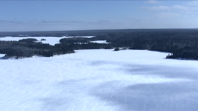 snow blankets a vast frozen lake bordered by dense boreal forests, canada. available in hd. - boreal forest stock videos & royalty-free footage