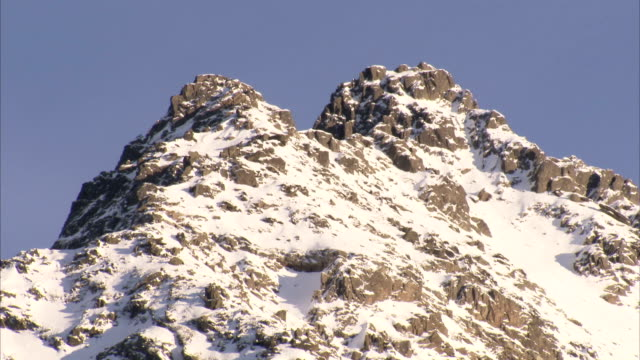 Snow blankets twin peaks. Available in HD.