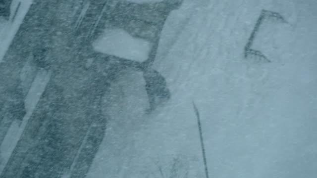 snow blizzard storm in new york city. extreme weather scenery. urban winter season background