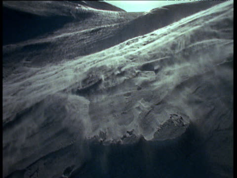 Snow blowing over bleak and desolate ice landscape, Svalbard