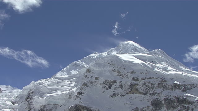 MS Snow blowing with wind on snow covered peak of mount everest with blue sky / Mt. Everest, Nepal