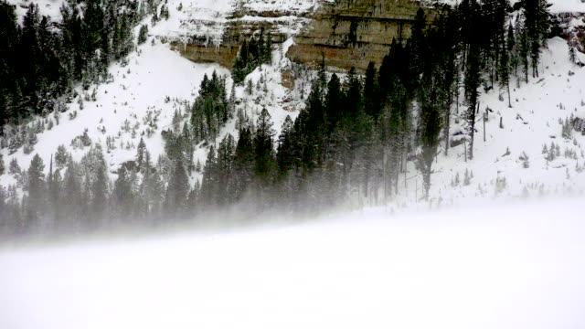 Snow blowing, Yellowstone National Park, winter