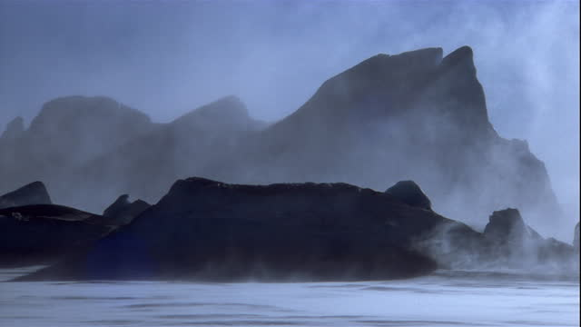 Snow blows across icy lanscape in Antarctica. Available in HD.