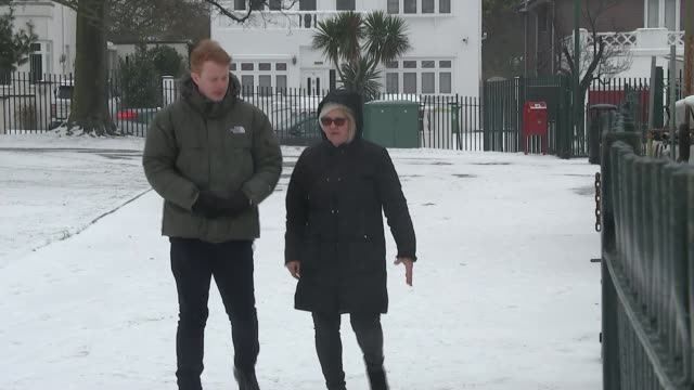 stockvideo's en b-roll-footage met snow brings chaos to london's roads and rail network london welling danson park wide shot frozen lake with seagulls on ice on surface of water close... - koet