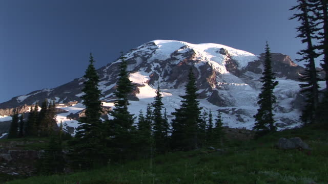 ws, snow capped mount rainier, mount rainier national park, washington, usa - stationary process plate stock videos & royalty-free footage