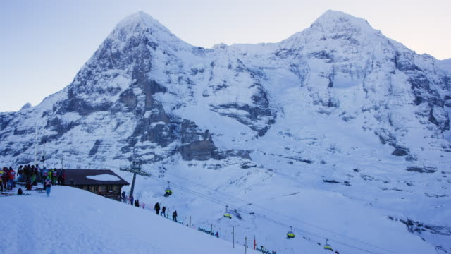 Snow capped mountain and ski slope in Wengen, Switzerland