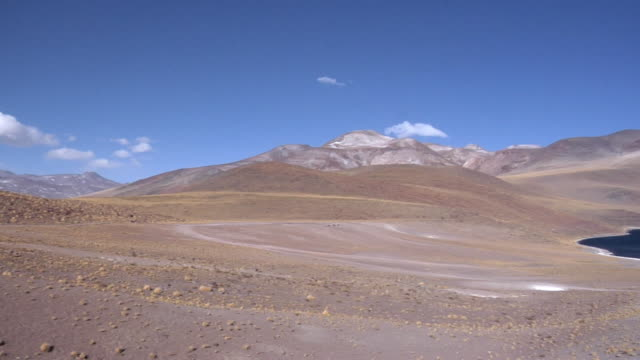 WS PAN Snow capped mountains and lake in desert landscape, San Pedro de Atacama, El Loa, Chile