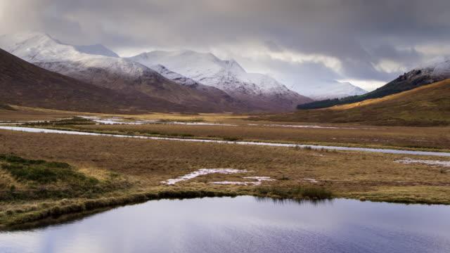 snow capped mountains around glen clunie, scotland - time lapse - scottish highlands stock videos & royalty-free footage