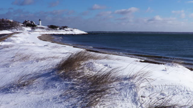 snow covered beach on cape cod - massachusetts stock videos and b-roll footage