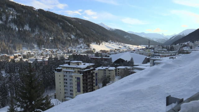 Snow covered buildings at Davos Switzerland