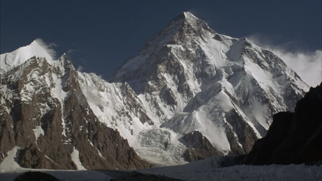 Snow covered K2 in the Himalayan range.