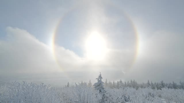 snow covered landscape with halo and sun in winter, mount fichtelberg, oberwiesenthal, erzgebirge, ore mountains, saxony, germany, europe - 円光点の映像素材/bロール