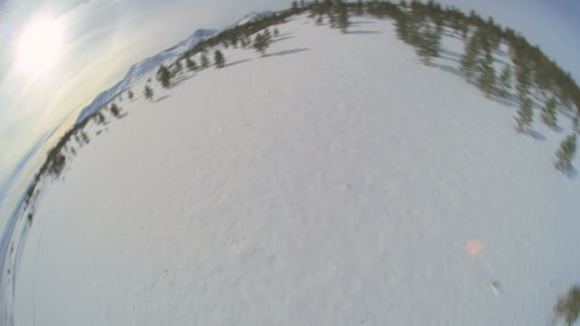 ws pov snow covered landscapes / mammoth lakes, california, usa - fish eye lens stock videos & royalty-free footage