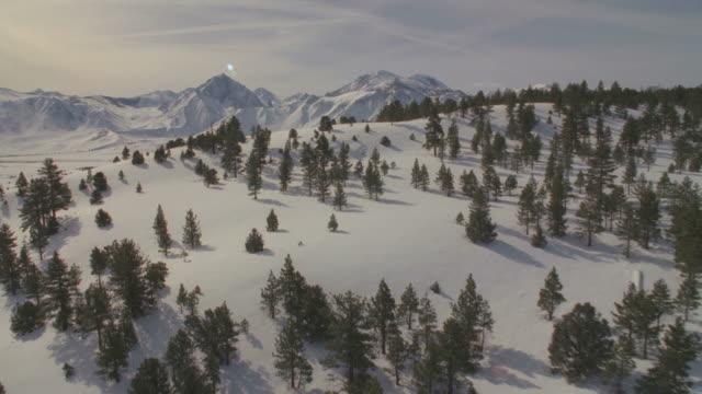 WS POV Snow covered landscapes / Mammoth Lakes, California, USA
