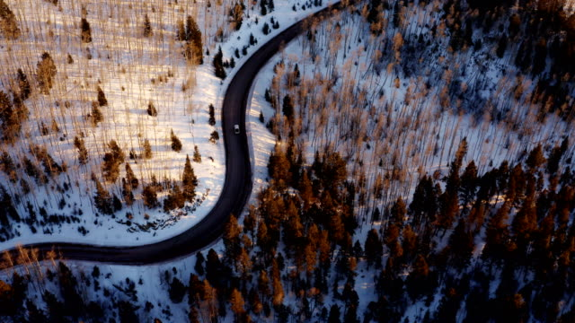 snow covered mountain road at sunset: new mexico - strada tortuosa video stock e b–roll