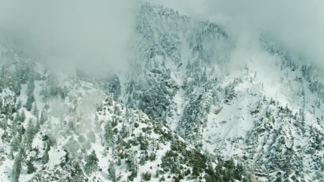 雪に覆われたサンガブリエル山脈 - ドローンショット - エンジェルス国有林点の映像素材/bロール