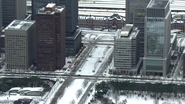 AERIAL, Snow Covered Tokyo Skyline
