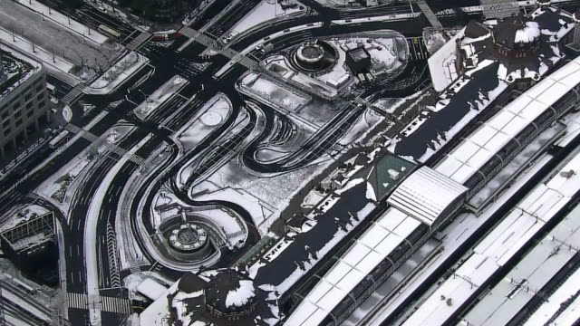 aerial, snow covered tokyo skyline - kanto region stock videos & royalty-free footage