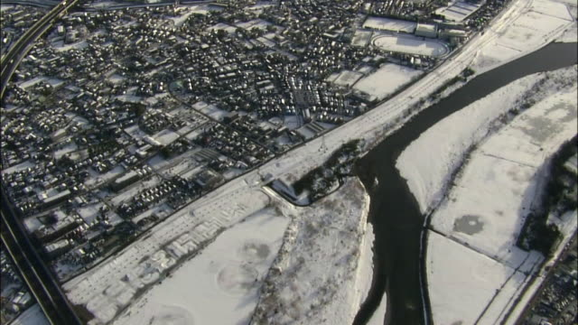 aerial, snow covered tokyo townscape - kanto region stock videos & royalty-free footage