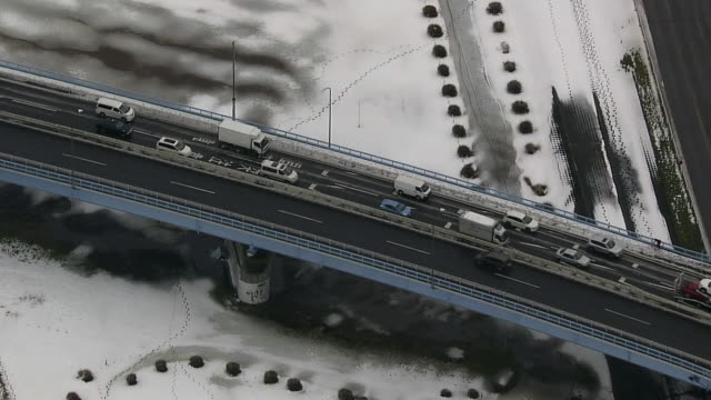 aerial, snow covered tokyo - kanto region stock videos & royalty-free footage