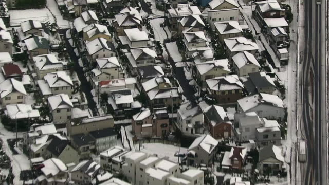 aerial, snow covered townscape, kanagawa, japan - kanto region stock videos & royalty-free footage