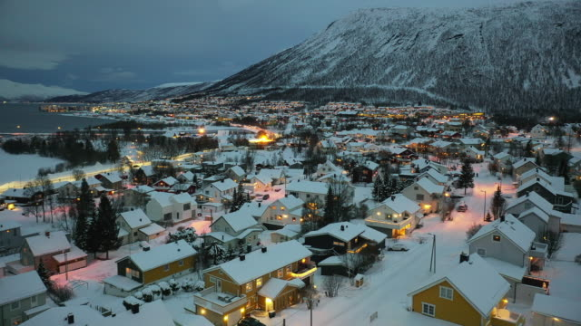 snow covered tromso during the polar night - norway stock videos & royalty-free footage