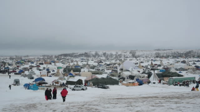 Snow covers Oceti Sakowin Camp near the Standing Rock Sioux Reservation on December 1 2016 outside Cannon Ball North Dakota Native Americans and...