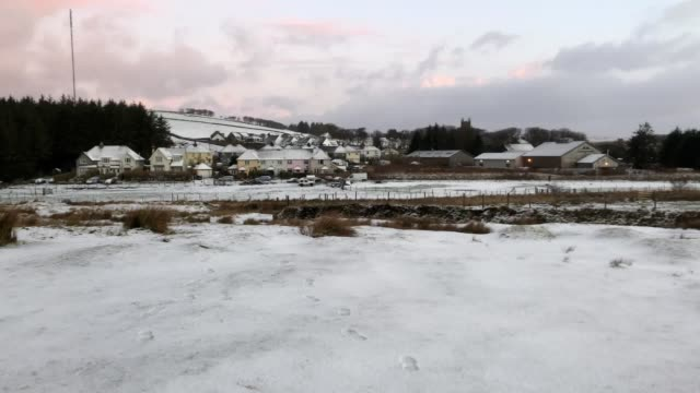 snow covers parts of dartmoor in devon as the effects of storm ciara continue to be felt across the uk forecasters said some areas could see... - dartmoor stock videos & royalty-free footage