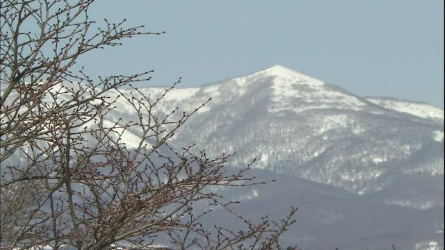 Snow covers the peak of Mount Washibetsu near Cape Chikyu.