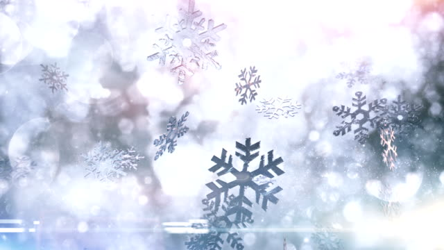 snow crystals falling (bright) - loop - public celebratory event stock videos & royalty-free footage