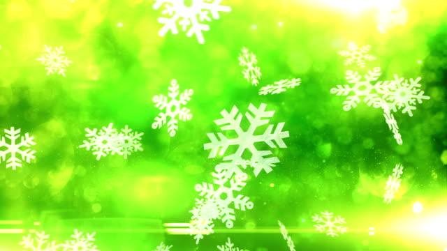 Cristais de neve caindo (verde)-Loop