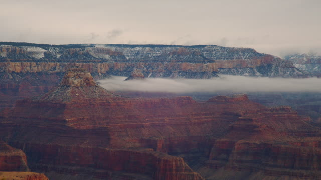 Snow dusts the far side of the South Rim of the Grand Canyon.
