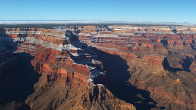 Snow dusts the ridges in the Grand Canyon.