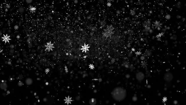 抽象的な雪片で雪が降る形4kループ可能なストックビデオ - 雪の結晶点の映像素材/bロール