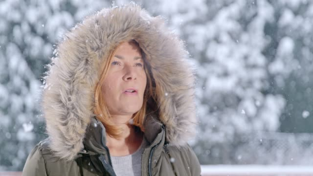 Snow falling around serene woman in fur hood, super slow motion