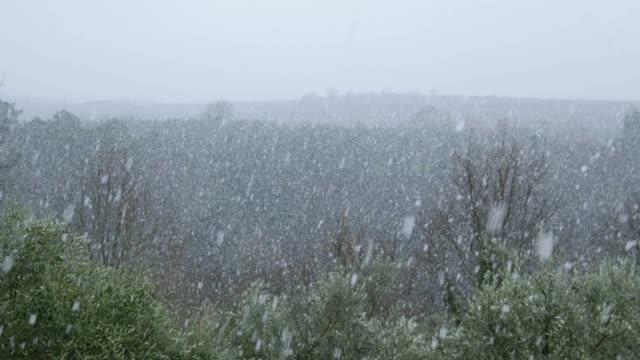 schneefall auf dem land - toskana stock-videos und b-roll-filmmaterial