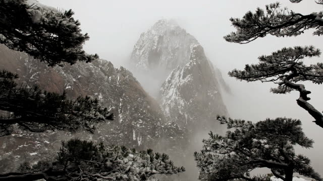 snow falling in the misty yellow mountains, huangshan,  anhui province, china,  asia,  - peter snow stock videos & royalty-free footage