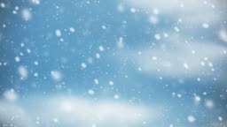 Snow falling on blue sky with cloud in the winter Christmas background stock video