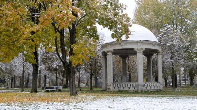 vídeos de stock e filmes b-roll de ms snow falling on colorful autumn leaves on tree in park /  landshut, bavaria, germany - casa de jardim