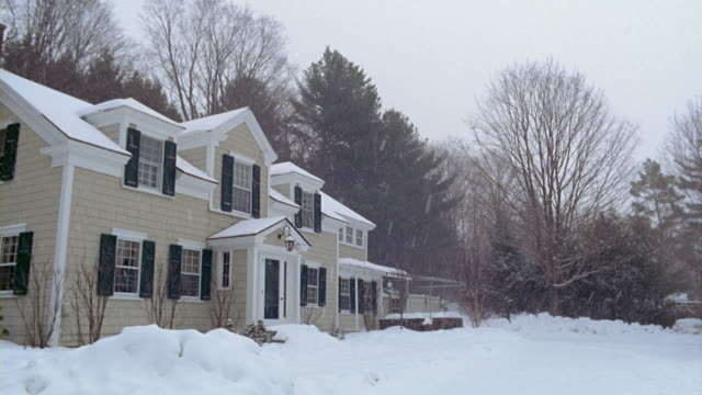 MS snow falling on suburban home / Manchester, Vermont