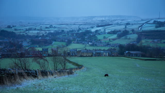 Snow Falling on Yorkshire Village and Farms - Time Lapse