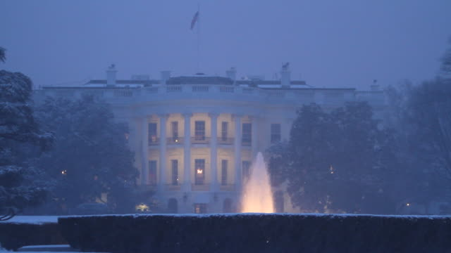 snow falls in front of white house at night - white house washington dc stock videos and b-roll footage