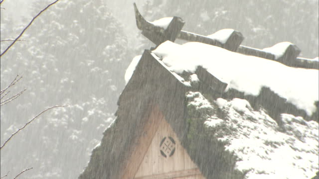 snow falls on a thatched roofed house. - 村点の映像素材/bロール