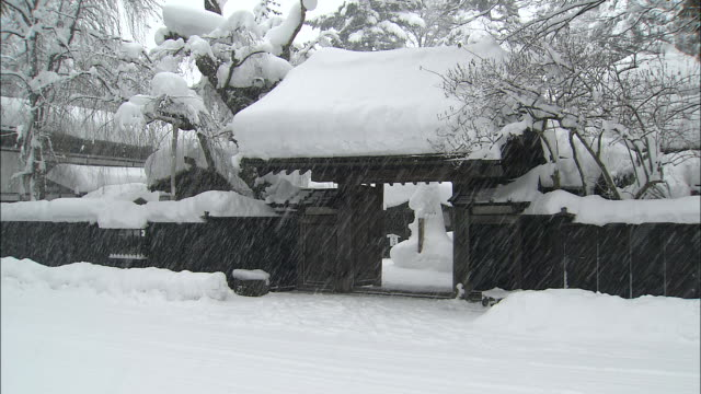 snow falls on ornate gateway of traditional bukeyashiki samurai house - 深い雪点の映像素材/bロール