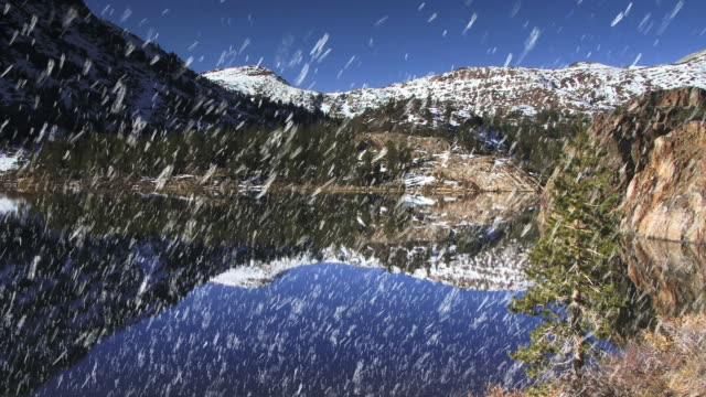 snow falls over snow-capped mountains mirrored in a mountain lake. - digital enhancement stock videos & royalty-free footage