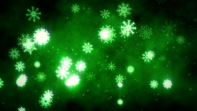 snow flakes christmas background in green - depth marker stock videos & royalty-free footage