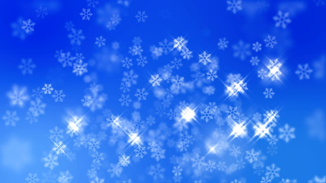 Snow Flakes Falling with Sparking Light on Blue Background, Christmas Background